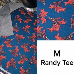 Medium Randy Tee LuLaroe Gray Blue Red Floral NWT